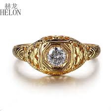<b>HELON Solid 10K</b> Yellow <b>Gold</b> Lab Grown Diamond Engagement ...
