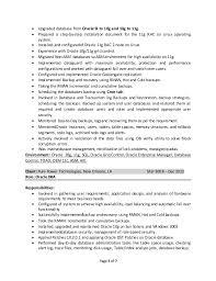Oracle Dba Cv Satheesh Oracle Dba Resume