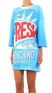 Moschino Cotton Printed Long Sleeve Dress in Blue | Lyst