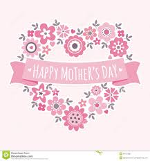 Mother S Day Menu Template Happy Mothers Day Card Floral Heart Pink Stock Vector