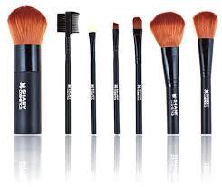 shany studio quality goat sable bristles cosmetic brush set large kabuki 7 pc