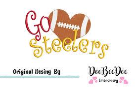 Steelers Applique Design Football Go Steelers Machine Embroidery Design