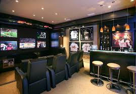 Sports bar ideas for home home theater contemporary with drink holders home  bar seat cushions