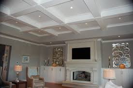 ... Marvelous Home Interior With Modern Coffered Ceiling : Beautiful  Decorating Ideas Using Rounded Cream Desk Lamps ...