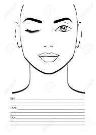 face chart makeup artist blank template vector ilration stock ilration 61056423
