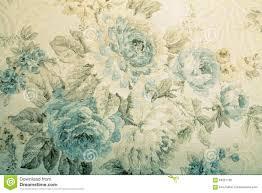 Uitstekend Behang Met Blauw Bloemen Victorian Patroon Stock