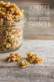 coconut oil honey almond granola 1 c almonds divided 3 c old fashioned oats c brown sugar c honey 3 t coconut oil t almond extract