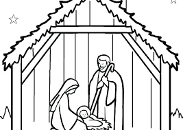 Manger Coloring Pages To Print Color Christmas Scene Away In A