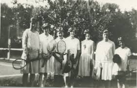 Members of the Hunt family posing at tennis court at their home at  Hillview, Wetherill park, NSW | Fairfield City Heritage Collection
