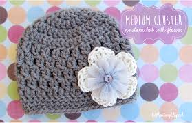Free Crochet Patterns For Baby Hats Awesome Medium Cluster Crochet Baby Hat With Flower Free Pattern The