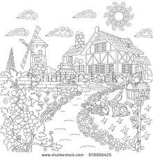 coloring book page rural landscape farm stock vector royalty free 678806425 shutterstock