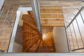 Square spiral staircase / wooden steps / metal frame / without risers -  ROMEO