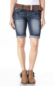 Wallflower Juniors Belted Bermuda Denim Shorts In Camila