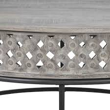 Buy from insaraf's exclusive collection of stylish coffee table designs. Wooden Round Cocktail Table With Hand Carved Lattice Design Weathered English Elm