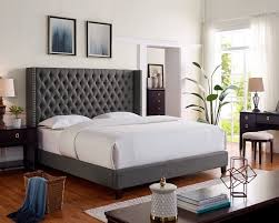 OAH D3014 Sterling brown linen like fabric queen low-profile bed frame set