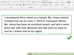 Write A Letter Showing Proof Of Residence For New Sample