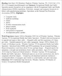 Enchanting Occupational Health And Safety Resume Examples 21 For Resume  Examples with Occupational Health And Safety Resume Examples