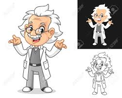 Cartoon Designs Confused Old Man Professor With Shrug Gesture Cartoon Character