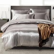 2pcs 3pcs 4pcs nordic style silk bedding set queen size satin grey duvet cover solid color