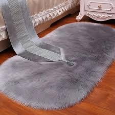 grey fluffy rug white plush faux fur wool oval carpet area living room bedroom bedside carpets grey fluffy rug