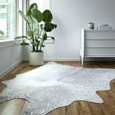 white faux cowhide rug grey silver x 8 house stuff area gold and metallic gray small