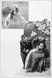 アンティークの絵画イラスト カップルは生まれたばかりの赤ちゃん 19