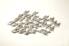 >fish wall sculpture wall art decor large aged grey school of fish  fish wall sculpture