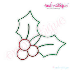 Simple Christmas Holly Embroidery Design Small