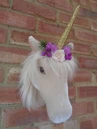 fluffy velveteen fl unicorn head hanging wall mount decoration sparkly