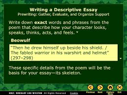 writing workshop writing a descriptive essay assignment prewriting  7 writing