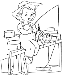little girl fishing coloring pages - Google Search   Artistic ...