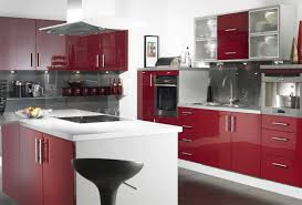 Kitchen Cabinets Red And White Black And Red Kitchen Home Style Design With Shiny L Shape Base