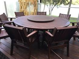 round outdoor table setting solid timber round outdoor setting with chairs and lazy outdoor table setting