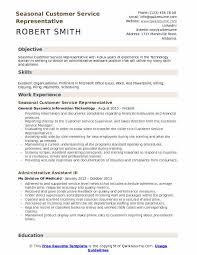 Seasonal Customer Service Representative Resume Samples