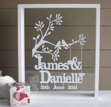 personalised wedding anniversary or valentines papercut keepsake