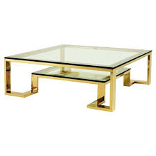 2 tier gold square coffee table