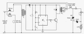 electronic circuits projects and circuit diagrams alarm doorbell control porch light circuit diagram