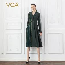 voa heavy silk army green trench coat women cool military overcoat las fall long sleeve outerwear