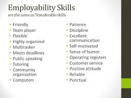 Employability Skills are the same as Transferable skills