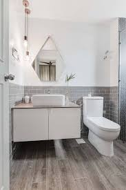 Two Tone Bathroom Tile Designs Two Toned Tiles On Bathroom Wall Matches Timber Styled Floor