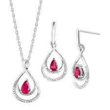 1 1 10 ct natural ruby pendant earrings set with diamonds in sterling silver