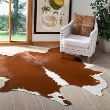 safavieh leather brown white cowhide area rug 4 6 x 6 6