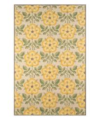 love this yellow green fl hand hooked wool rug