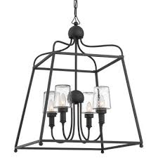 sylvan four light outdoor chandelier black forged
