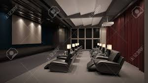 modern private home office. Modern Private Home Cinema System With Beamer And Canvas Many Chairs (3D Rendering) Office U