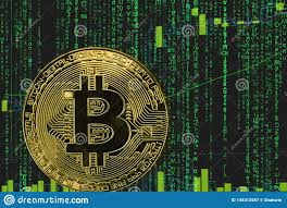 Coin Bitcoin Btc Cryptocurrency On The Background Of Binary
