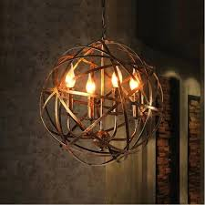 orb light fixture aged round metal sphere chandelier orb light pendant oil rubbed brass 4 lights