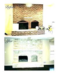 resurfacing a brick fireplace refinish brick fireplace refacing with stacked stone