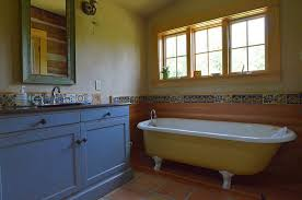 bathroom colors yellow. Rustic Bathroom With Clawfoot Bathtub In Yellow And Vanity Blue [From: Sarah Greenman Colors T