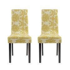 homluxe printed spandex stretch dining room chair slipcovers 2 gold tree image